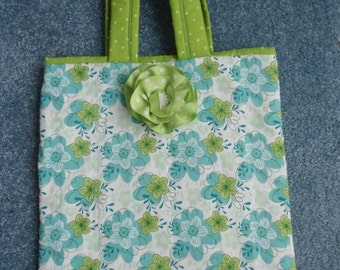 "Tote Bag Handcrafted/Quilted,Aqua/Lime Bright Floral, 13""Wx14""L,Slip-in-Pocket Ribbon Flower Pin Accessory"