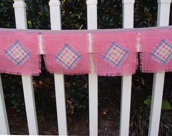 Party Banner, Bunting, Hot Pink, Burlap, Hessian, Teen room, wall hanging