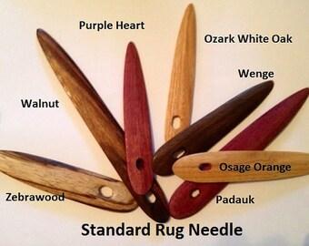 Custom Made Hardwood Toothbrush Rug Needle and Instructions