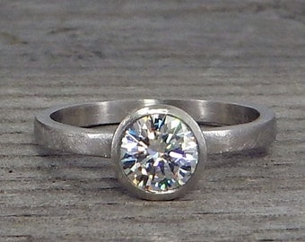 Moissanite Engagement Ring - Forever Brilliant - Recycled 950 Palladium, Ethical, Solitaire, Conflict-Free, Ready to Ship in a size 7.25