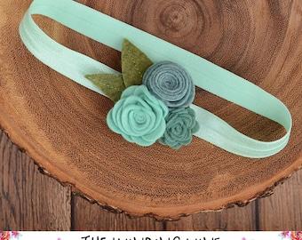 Seafoam/Teal/Aqua/Green Felt Flower Headband or Clip for Baby, Child, Teen, or Adult - Custom Elastic Color