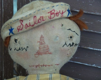 VERY Primitive, Antique, Old, Vintage, Folk Art, Sailor, Beach, Raggedy Andy, Old Cloth, Rag Doll, Collector, OOAK, Doll by Mustard Seed Ori