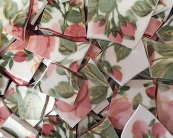 Mosaic Tiles Tesserae Broken Plates DIshes Art Supply Crafts Hand Cut Pink Roses Flowers 100
