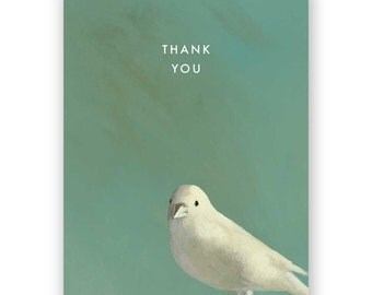 White Bird Thank You Card - Greeting - Gratitude - Bird - Animal - Parrot - Mincing Mockingbird