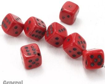 8mm Red/Black Dice Beads (25 Pcs) #3680