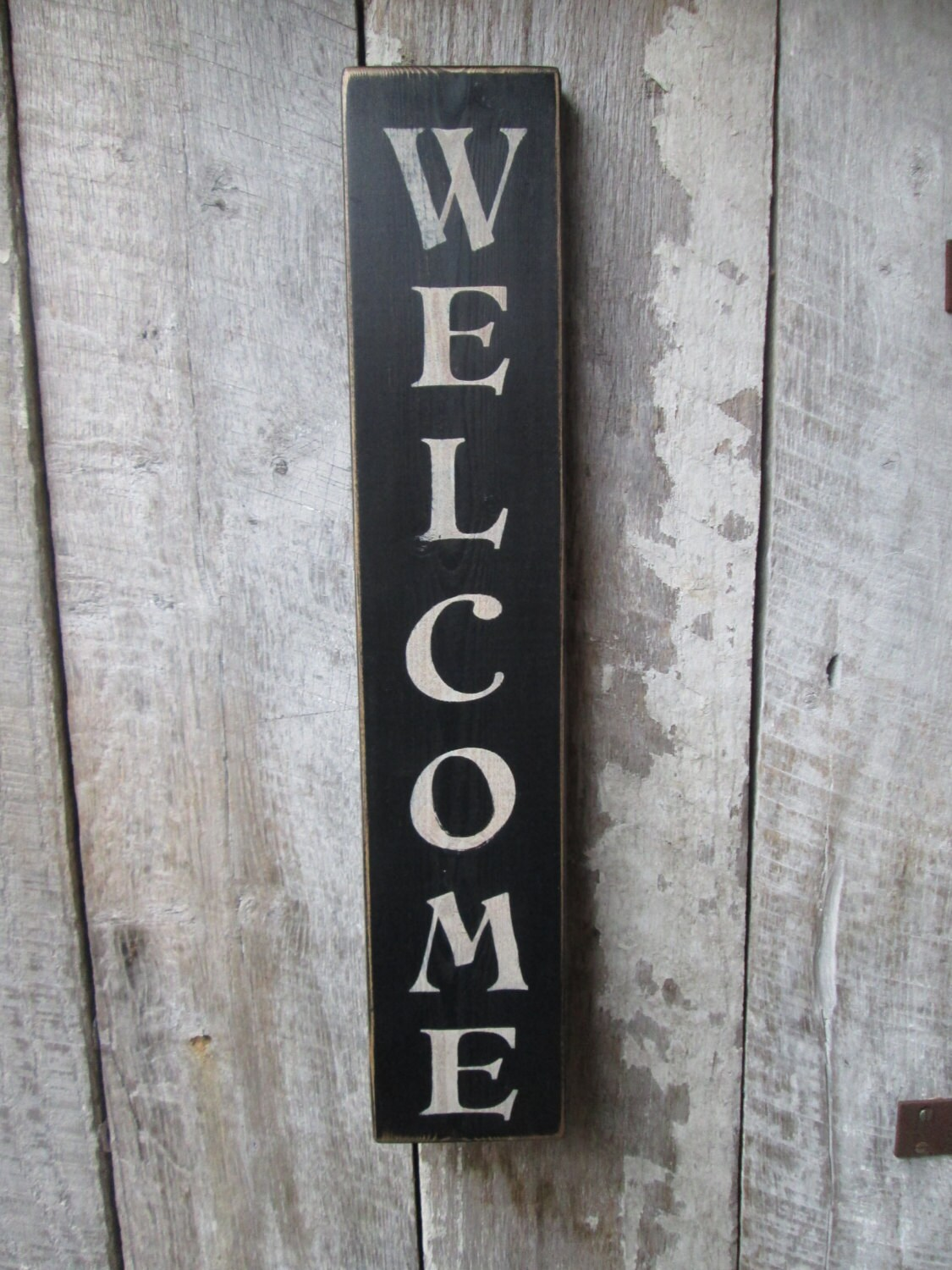 Primitive Wood Sign Welcome Sign Vertical Large Cabin Country