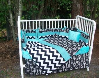 Custom made 7 piece Black and White ARROWS and CHEVRON Crib Bedding Set w/ teal minky dot fabric