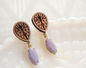 laser etched geometric gemstone wood and glass earrings- post dangles- vintage stones