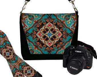 SET Dslr Camera Bag Purse and Camera Neck Strap for Nikon Canon Sony etc, Boho Bohemian  Kaleidoscope Mandala turquoise blue orange red MTO