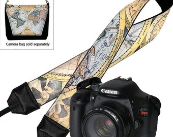 World Map Camera Strap,  Photo Camera Accessories,  SLR, DSLR Camera Strap, Gift For Photographer, Vintage Map, blue black multi-color RTS