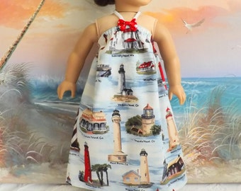 18 Inch Doll Clothes Dress Lighthouse Nautical Medley Red White and Blue Beach Sundress Clearance Sale