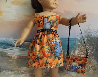 "Doll Dress Halloween Fall Autumn Scarecrow Cats and Pumpkins OOAK Fits 18"" Doll with Trick or Treat Bag"