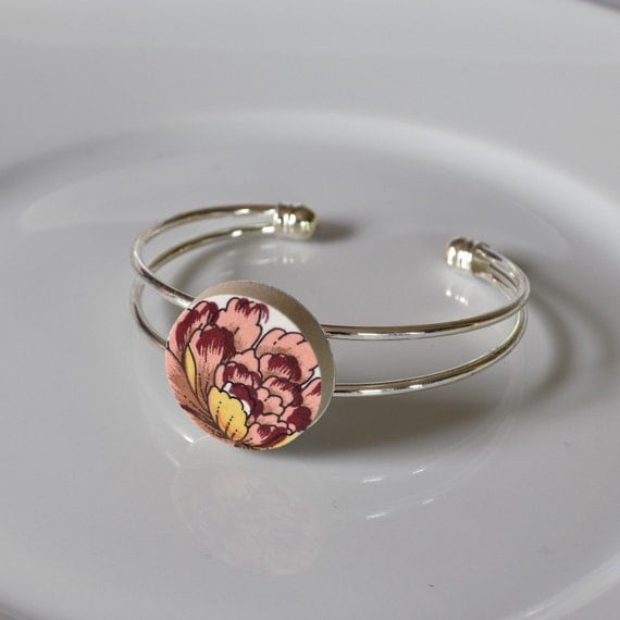 Recycled China Cuff Bracelet - Pink Yellow Floral