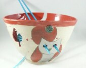 Handmade Extra Large Pottery Yarn Bowl with owl - Ceramic knitting organizer Crochet Bowl in Colorado Art Design  yb80