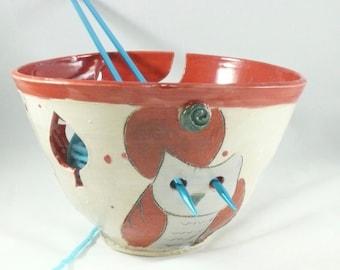 Handmade Extra Large Pottery Yarn Bowl with owl - Ceramic knitting organizer Crochet Bowl in Colorado Art Design  yb80