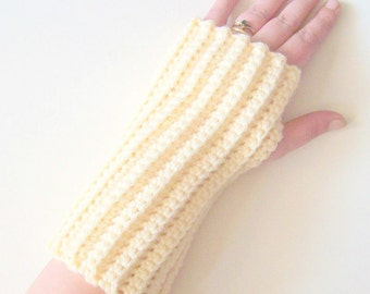 Crochet Fingerless Gloves, Cream Crochet Gloves, Crochet Wrist Warmers, Arm Warmers, Texting Gloves, Winter Gloves