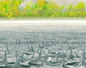 greetings card: 'Autumn Shower' - art card, open water swimming, rain on water