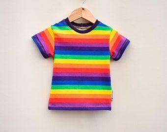 rainbow kids shirt, Rad Rainbow, rainbow birthday outfit, Striped tee, cotton lycra, sleeve options, sizes 3m- 14 youth, rainbow baby top