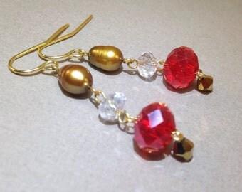 Red AB Czech Crystal Earrings - Freshwater Pearls - Dangle Earrings - Statement Earrings - Boho Jewelry - Pierced Earrings - Gift for Her