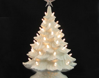 Winter White Ceramic Christmas Tree Crystal Lights Large 18 Inch Tall Electric Tabletop Tree - Made to Order