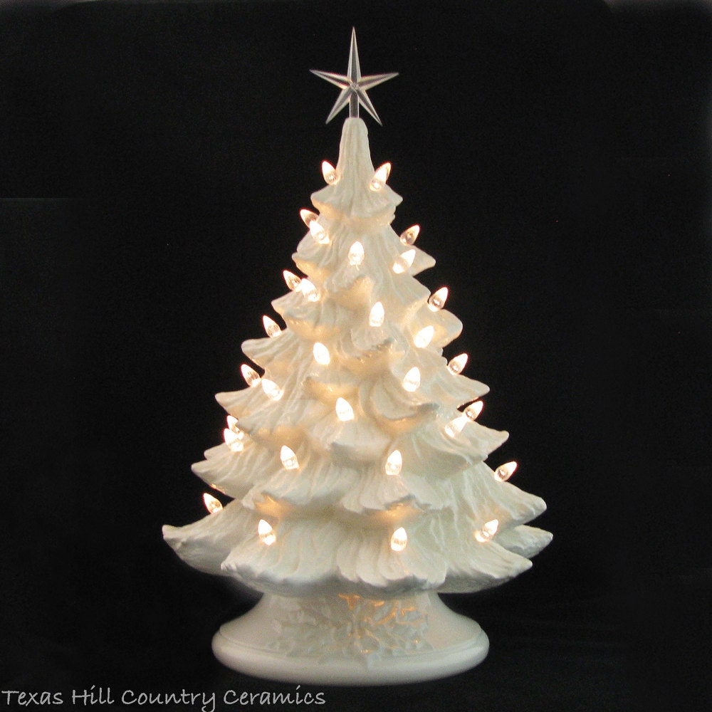 Large white christmas ornaments - Winter White Ceramic Christmas Tree Crystal Lights Large 18 Inch Tall Electric Tabletop Tree Made