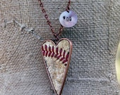 Team number charm Leather baseball seam stitch large heart pendant necklace - silver, copper, gold baseball mom jewelry, little league