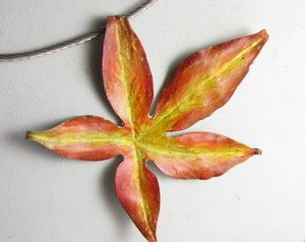 Turning Color Necklace - Autumn Leaf of Prismacolor on Copper on a Sterling silver necklace