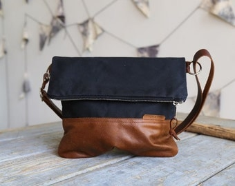 Waxed Canvas and Leather Foldover Crossbody Bag Black / Handmade Leather and Canvas Purse / Foldover Bag with Strap