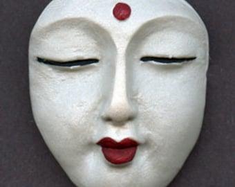 Polymer Clay Buddha Face  Cab White Pearl  WPBD 1