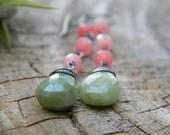green peruvian opal and pink grapefruit quartz earrings - oxidized sterling silver