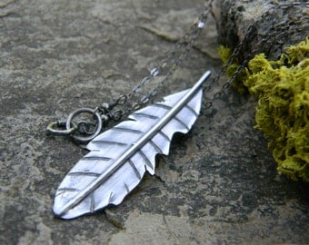 bohemian feather necklace - sterling silver - handcut