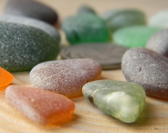 California Sea Glass - Lot 2 - mixed colors - browns and greens