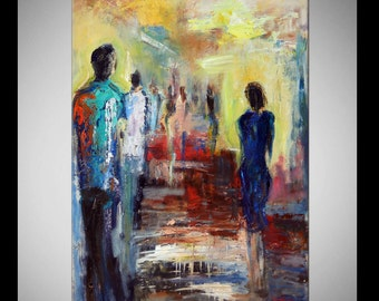 Abstract Painting ORIGINAL Modern Art Colorful Contemporary Painting Pop Art  - CROWD 40x28 by BenWill