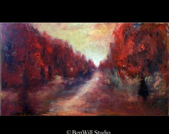 ORIGINAL Painting Contemporary Art in Red - Abstract Trees Painting on Canvas 40x28 by BenWill