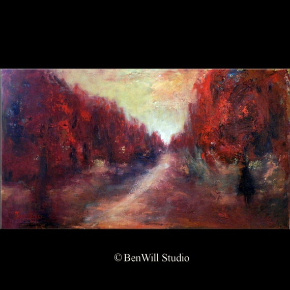 ORIGINAL Painting Contemporary Art in Red - Abstract Trees Painting on Canvas 36x20 by BenWill