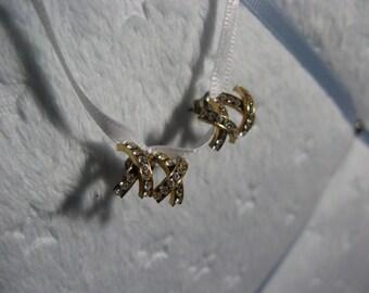 Rhinestone double x post earrings