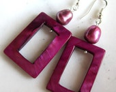 Cranberry Shell and Pearl Earrings.  Mother of Pearl Earrings. Under 25. Gifts for Her.