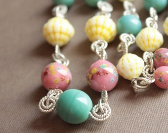 Glass Bead & Sterling Silver Wire Necklace - Yellow, Raspberry, Aqua