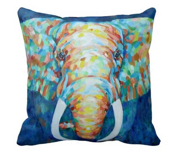 Elephant Pillow Pillow Cover Colorful Throw Pillow