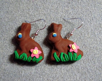 Easter Candy Dark Chocolate Bunny Polymer Clay Earrings LARGE Handmade DC4
