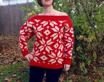 Over-sized 1960s Womens Red Snowflake Sweater M/L