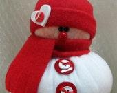 SNOWMAN DECORATION, Snowman Ornament, Christmas Decoration, Christmas Ornament, Fleece Snowman, Stuffed Snowman