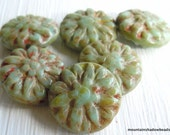 6 Picasso 14mm Czech Dahlia Beads - Pale Turquoise Picasso (G - 459)