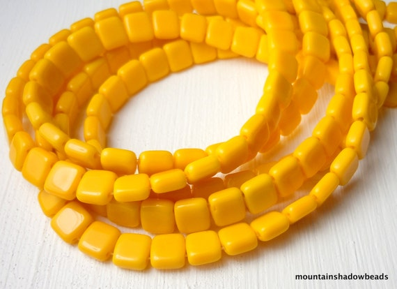 Opaque Sunflower Yellow Czech Glass Beads 6mm Two Hole Square Tile - 50 (G - 648)