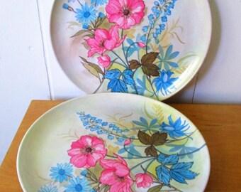 4 vintage flower melmac dinner plates