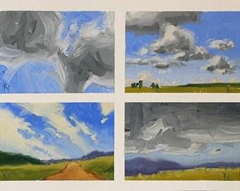 Cloud Studies 2 - 9 x 12 Inch Original Impressionist Landscape Oil Painting - colorful art - Wall Decor