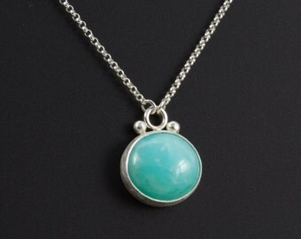 "Blue Peruvian Opal Cabochon Necklace - Bezel Set Opal Pendant - Oval Blue Natural Gemstone - Artisan Made - Sterling Silver - 18"" chain"