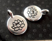 2 TierraCast Silver Lotus Charms, 11.5x16mm, Brushed Silver, Lotus Pendant, Silver Yoga Charm, Made in USA, Lead Free F061