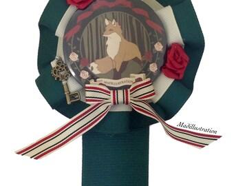 Deco Fox Rosette Green x Ivory