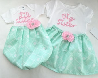 Boutique SISTER outfit set-- NEW BABY... Mint green and pink baby gown and big sister outfit